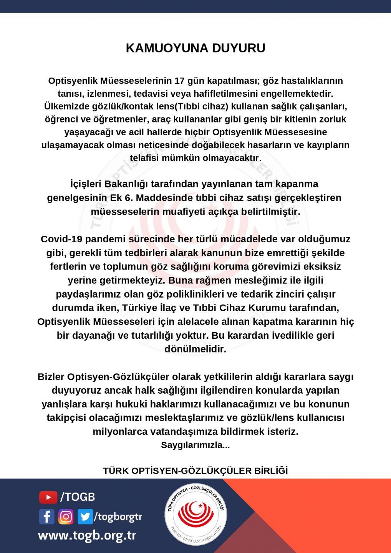 Türk Optisyen Gözlükçüler Birliği'nden Kamuoyuna Duyuru