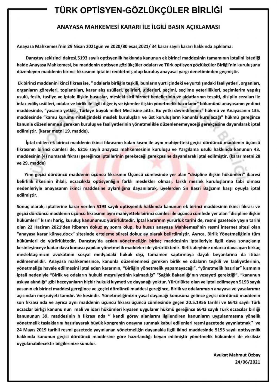 Anayasa Mahkemesi ile İlgili Basın Açıklaması