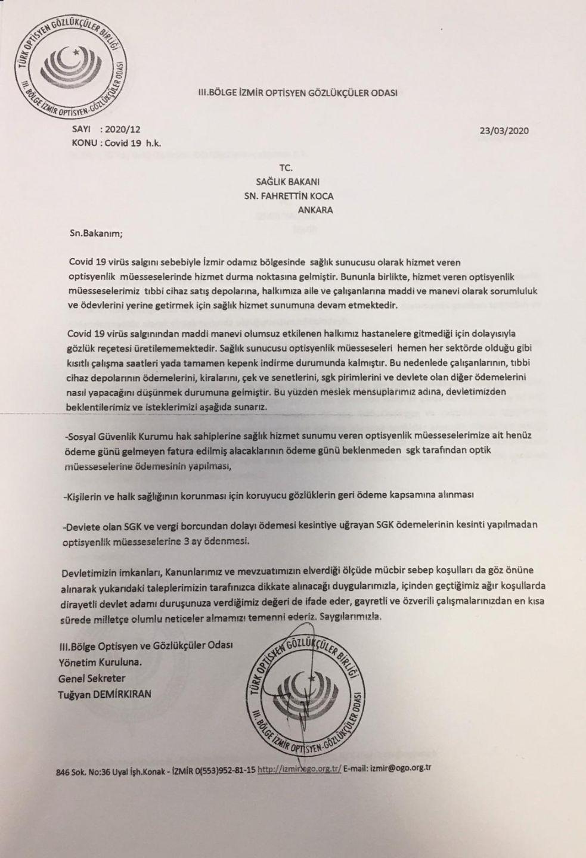 Sağlık Bakanı Sayın Fahrettin Koca'Ya Covid 19 Hakkında Yazdığımız Yazı.