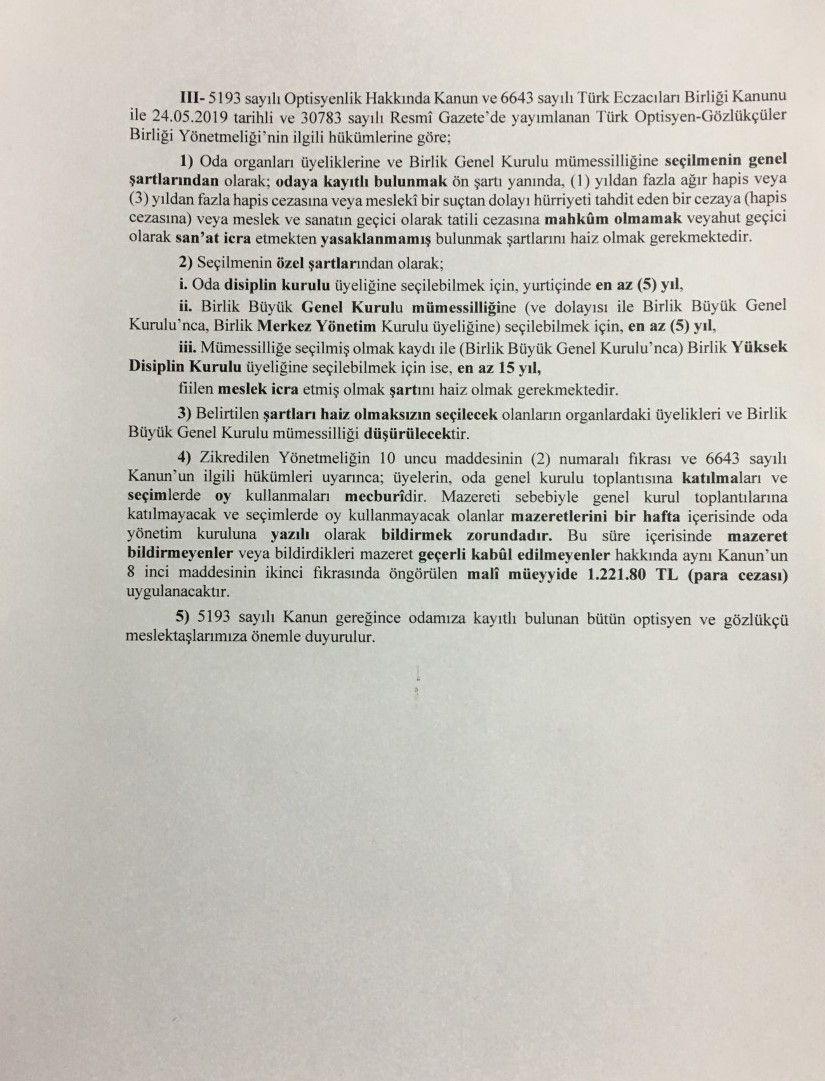 III. Bölge İzmir Optisyen – Gözlükçüler Odası Genel Kurul İlanı
