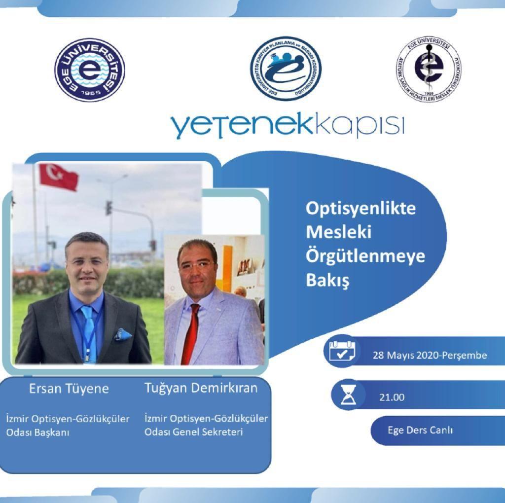 """""""Pandemi döneminde Ege Üniversitesi Optisyenlik bölümü öğretim üyesi sayın Elif Aktekin'in modoretörlüğünde, öğrencilerimizle konferans görüşmeyle biraraya geldik"""" ilgilerine teşekkür ederiz."""