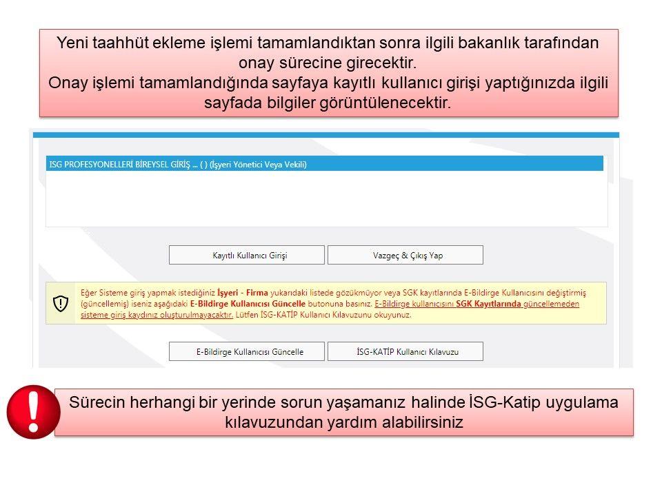 İSG Sertifikalarının e-KATİP Sistemine Kaydedilmesi Hakkında